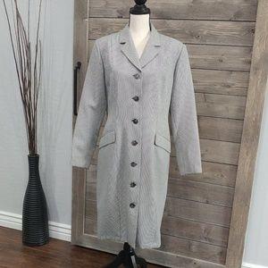 Vintage Harve Benard Houndstooth Trench Coat sz 14